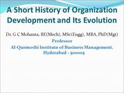 A Short History of Organization Development (OD) and Its Evolution