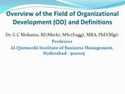 Overview of Organization Development (OD) and Definitions of OD