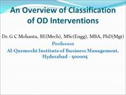 An overview of classification of OD  interventions