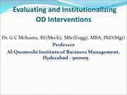 Evaluating & Institutionalizing OD Interventions