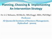 Planning, choosing &  implementing an intervention strategy