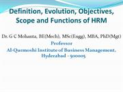 HRM Definition, Evolution,Objective,Scope & Function