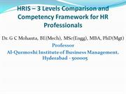 HRIS: 3 Levels Comparison & Competency Framework for HR Professionals