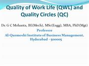 Quality of Work Life (QWL) and Quality Circles (QC)