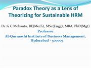 Paradox Theory as a Lens of Theorizing for Sustainable HRM