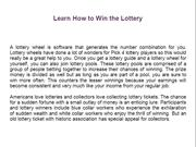 Learn How to Win the Lottery