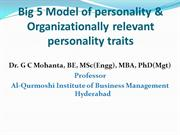 Big 5 Model of personality, Organizationally relevant traits