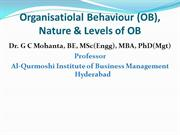 Organizational Behaviour (OB), Nature & Levels of OB