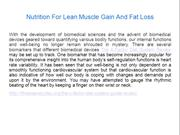 Nutrition For Lean Muscle Gain And Fat Loss