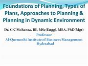 Foundations of Planning, Approaches, Dynamic Environment Planning