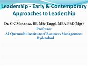 Leadership-Early & Contemporary Approaches to Leadership