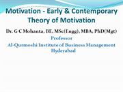 Motivation-Early & Contemporary Theory of Motivation
