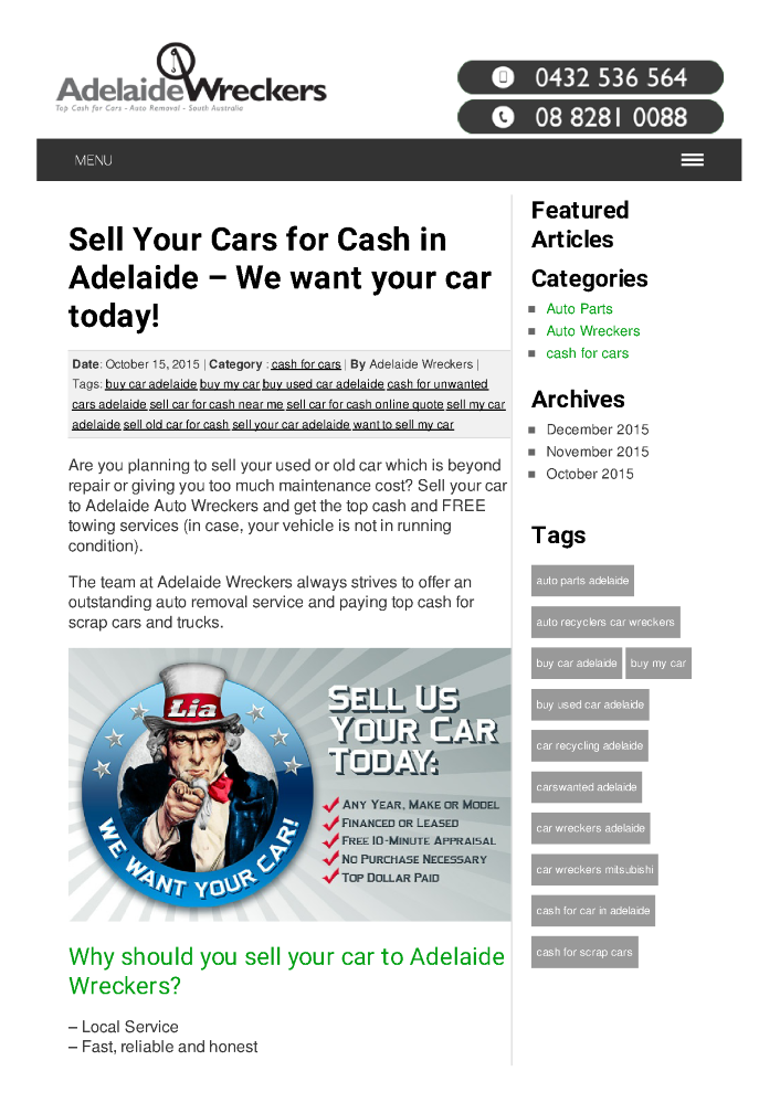 Sell Your Cars for Cash in Adelaide – We Want Your Car Today ...