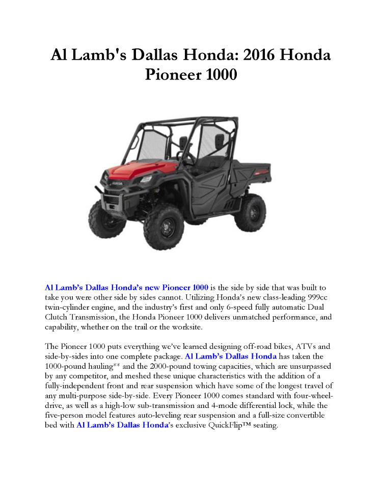 Al lamb 39 s dallas honda 2016 honda pioneer 1000 authorstream for Al lamb honda
