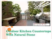 outdoor kitchen with the natural stone countertops