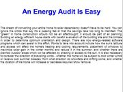 An Energy Audit Is Easy