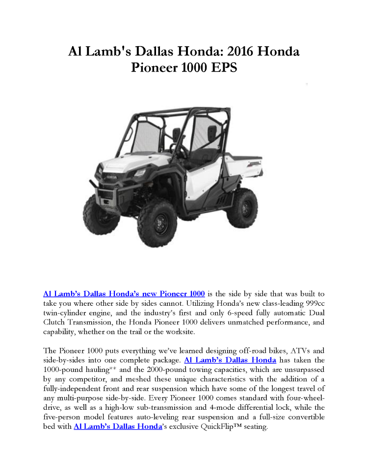 Al lamb 39 s dallas honda 2016 honda pioneer 1000 eps for Al lamb honda