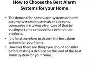 How to Choose the Best Alarm Systems