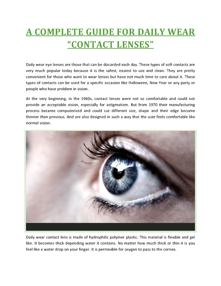 A Complete Guide for Daily Wear Contact Lenses  authorSTREAM