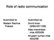 Role of radio communication