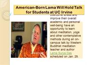 American-Born Lama Will Hold Talk for Students at UCIrvine