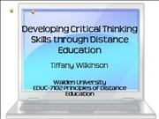 Critical Thinking in Distance Education