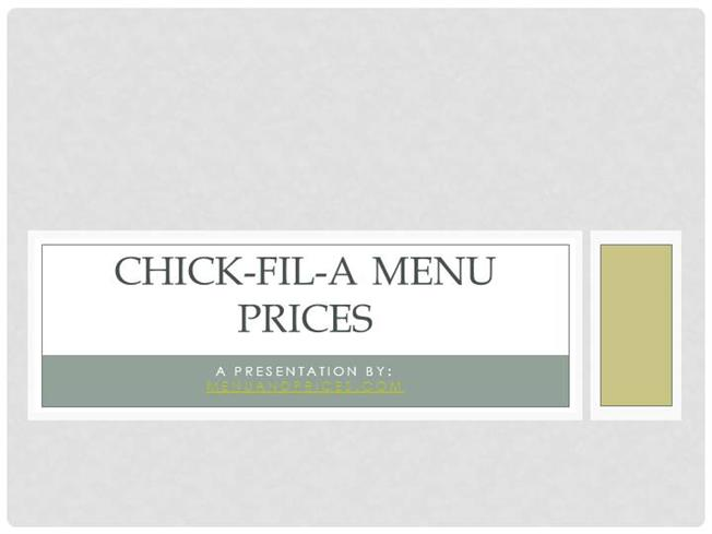 picture relating to Chick Fil a Menu Printable identified as Chick-Fil-A Menu Costs 2016 authorSTREAM