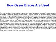 How Ossur Braces Are Used