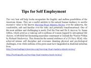 Tips for Self Employment