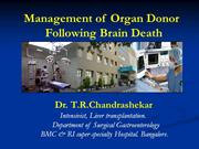 Management of organ donor following Brain Death NIMHANS 2016