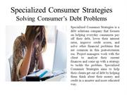 Specialized Consumer Strategies Solving Consumer's Debt Problems