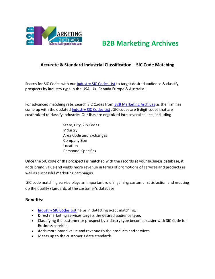 Accurate Industry SIC Codes List | B2B Marketing Archives |authorSTREAM