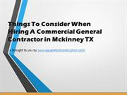 Considerations When Hiring A Commercial General Contractor in Mckinney