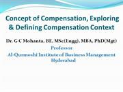 Concept of Compensation, Exploring & Defining Compensation Context
