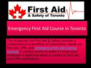 Emergency First Aid Course in Toronto