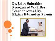 Dr. Uday Salunkhe Recognized With Best Teacher Award by Higher Educati