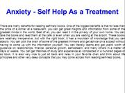 Anxiety - Self Help As a Treatment