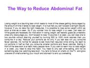 The Way to Reduce Abdominal Fat