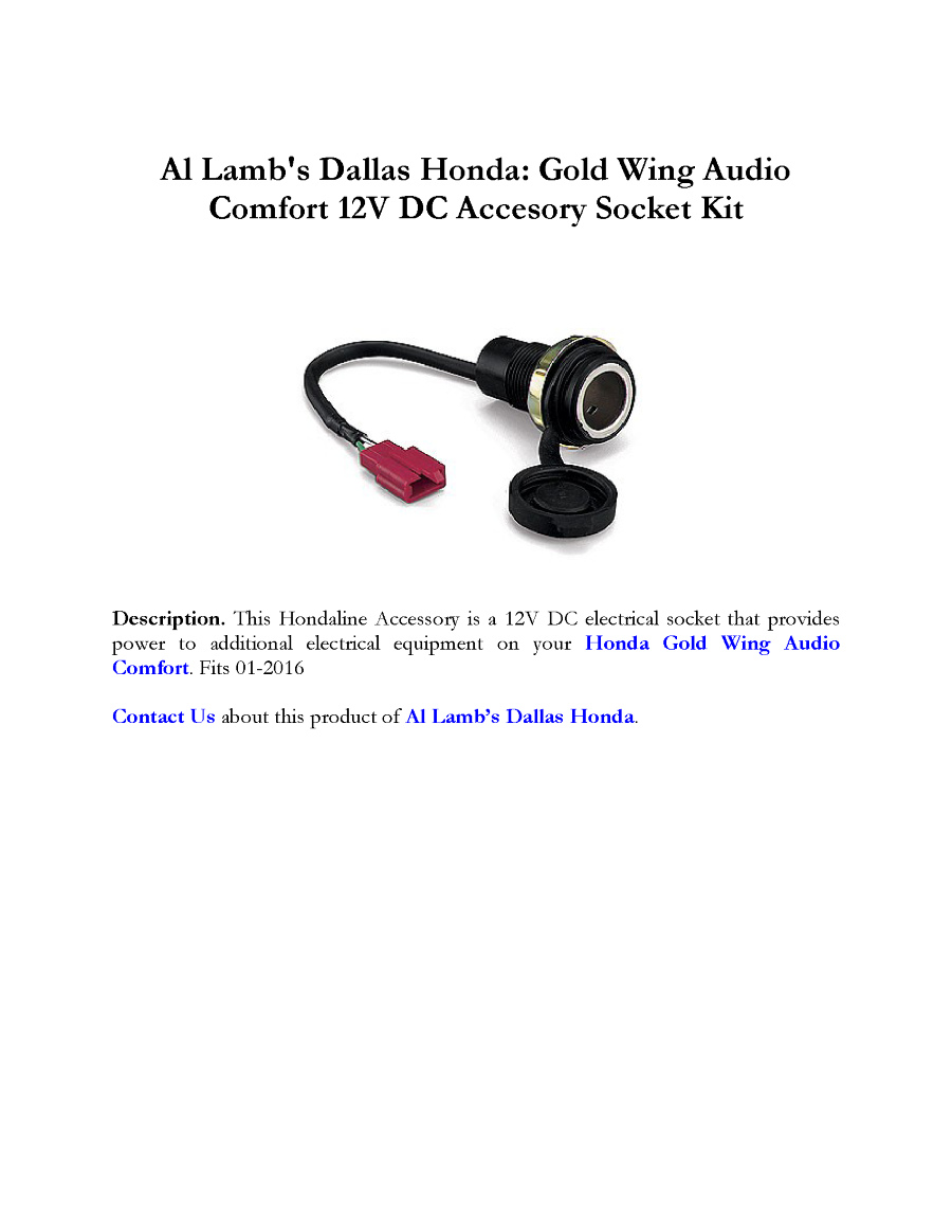 Al lamb 39 s dallas honda gold wing audio comfort 12v dc for Al lamb honda