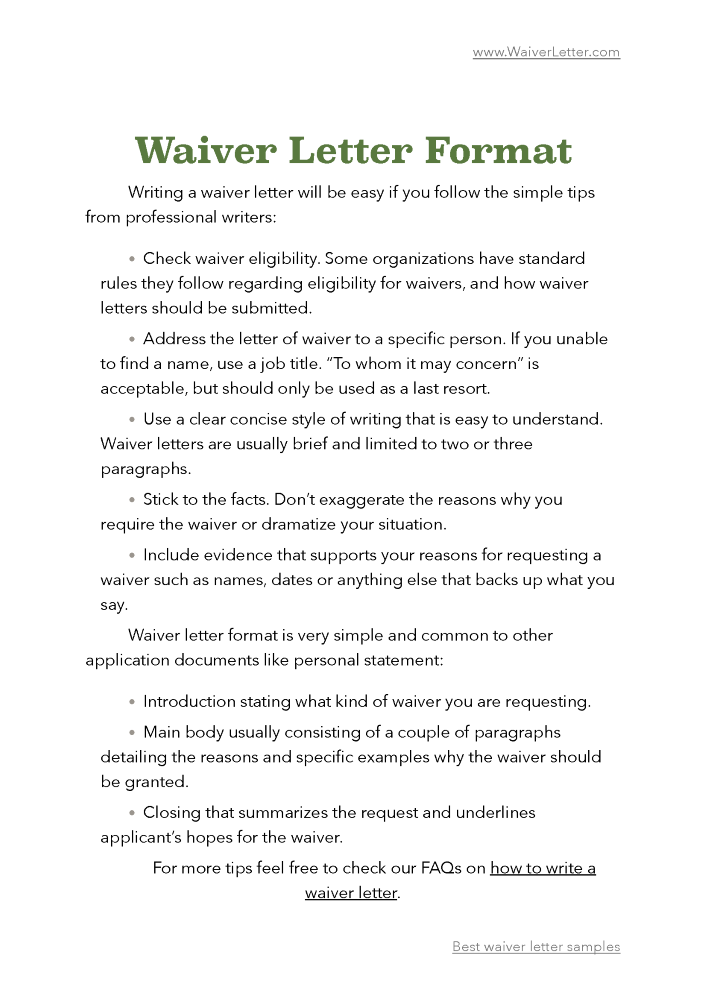 how to write a waiver