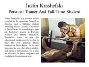 Justin Krashefski Personal Trainer And Full-Time Student