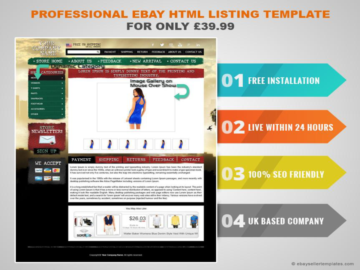 Professional ebay html listing template for only for Free ebay templates html download