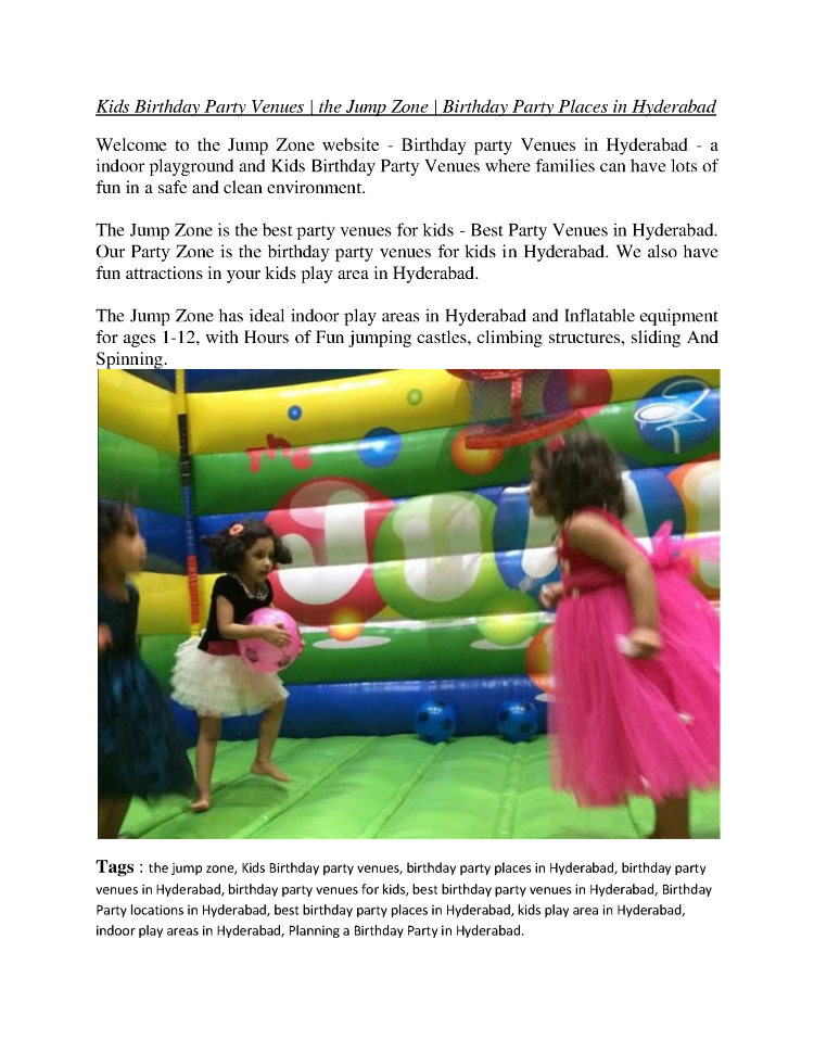 Kids Birthday Party Venues - the Jump Zone - Birthday Party