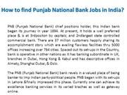 How to find Punjab National Bank Jobs in India?