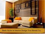 Basic Styles in Interior Design You Should Try
