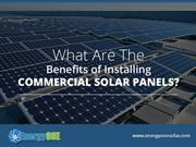 Commercial Benefits of Installing Solar Energy Panels