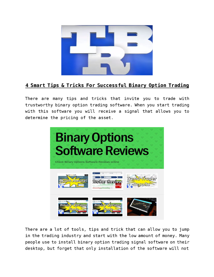 Binary options trading signals brokers
