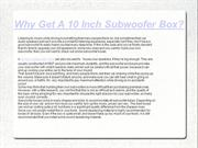 10 Inch Subwoofer Box - Why You Want One
