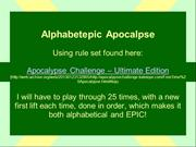 Alphabetepic Apocalypse Adventure 6
