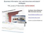 Business Information: key resources and search strategies